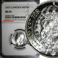 SWEDEN Gustaf V Silver 1937 G KRONA NGC MS64 KM#786.2