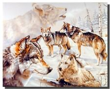 Wolves in Snow Winter Painting Wildlife Animal Wall Decor Art Print Poster 16x20