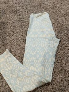 LuLaRoe Leggings Tall and Curvy NWT white and mint patterned