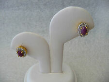 #188# CZ Oval Ruby Gem Cluster 925 Sterling Silver/ Plated 18K Gold Post Earring