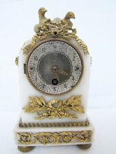 Antique19th C  French Alabaster Gilt Bronze  Miniature Time-Only Clock.