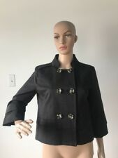 Attention Black Cotton Jacket 3/4 Sleeve Double Breasted Military Lightweight S