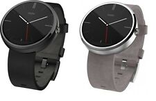Motorola Moto 360 46mm Stainless Steel Case Leather Band Unlocked Smartwatch 4GB