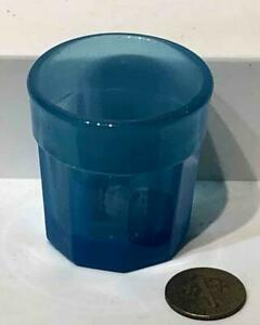 Rare Antique Sandwich Glass Translucent Blue Child's Pressed Paneled Toy Tumbler