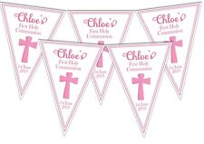 FB01 Girls Pink Holy Communion Christening Baptism personalised bunting