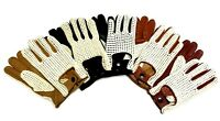 Mens Womens Genuine Leather Driving Gloves Crochet Back English Classic Retro
