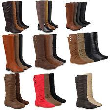 Warm Gefütterte Bequeme Flache Damen Stiefel Hochschaft 98263 Gr. 36-41 Schuhe