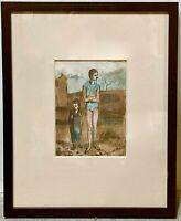 PABLO PICASSO Blue Period Harlequin Boy Vintage Original Drawing Pochoir Signed