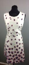 Apricot Watercolour Poppy Semi Fitted Womens Dress Cream Size 16