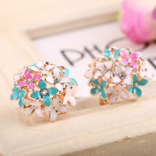 2017 Fashion Women Elegant Flower Crystal Rhinestone Ear Stud Earring Jewelry