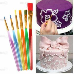 6 Pc Cake Decorating Painting Brushes ART Fondant Dusting Sugar Craft Decor Tool