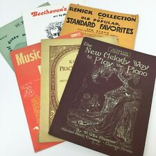 6 Vintage Piano Forte Teaching Books Sheet Music Song Books Art Nouveau ClipArt