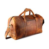 "20"" Men Tan Leather Duffle Bag Overnight Weekend Travel Luggage Aircabin Handbag"