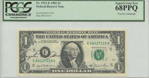 1981 $1 Federal Reserve Note Fr#1911-E PCGS MS68 PPQ Courtesy Autograph