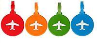 NOVAGO® Lot de 4 Étiquettes à bagages / Étiquettes à valise AVION ( Rond )