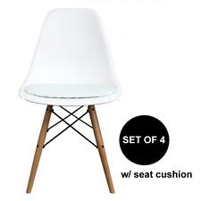 set of 4 - mid century modern white pad DSW side dining chair wood.eames,esque