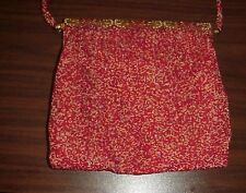 Antique French Beaded Handbag Purse Brass Frame Red Silk Hand Made