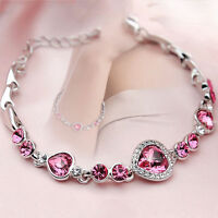 Women Ocean Blue Crystal Rhinestone Heart Bangle Bracelet Gift Fashion Pink hi