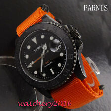 40mm PARNIS Black dial date window PVD Case GMT Automatic Movement men's Watches