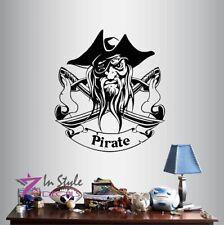 Vinyl Decal  Pirate with Swords Children Kids Boys Room Wall Decor Sticker 1259