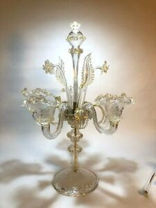 MURANO GLASS CANDELABRA CENTREPIECE | Clear With Gold Glass 5 Candle Holder