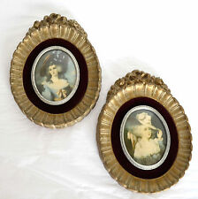 2 Vtg Cameo Creation Oval Glass Gold Frame Renaissance Art Wall Plaque Hanging