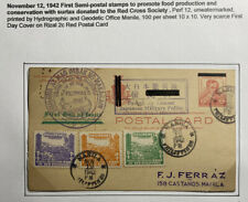 1942 Manila Philippines Japan Occupation Postcard Cover First Semi-postal Stamps