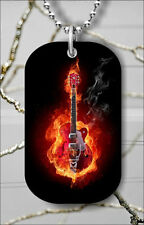 FIRED GUITAR ELECTRIC INSTRUMENT DOG TAG PENDANT NECKLACE FREE CHAIN -njh4Z