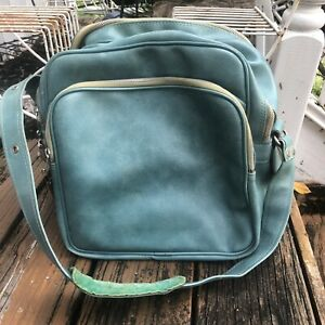 Aqua Blue Travel Bag Luggage Carry On Suitcase Vtg 60s 70s Shoulder Strap Key