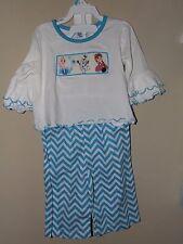 NWOT DBA Blanks 6M Smocked Frozen Shirt Pant Set Elsa Anna Chevron Blue Ruffles