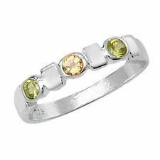Peridot Three-Stone Sterling Silver Fine Rings