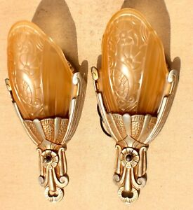 Vintage Pair of Lincoln Art Deco 1920's Slip Shade Wall Sconce Lights Rewired