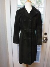 Nine West Dark Brown 100%Suede Leather Double Button Up Long/S Jacket *Women S*