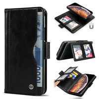 Genuine Leather Wallet Case ID Windows folio Magnetic RFID Slim fOR IPHONE XS XR
