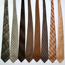 8 Men's Ties ALL LONG Gold Copper Modern Abboud Cal Klein Wong Silk Poly Tie Lot