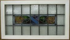 "OLD ENGLISH LEADED STAINED GLASS WINDOW TRANSOM Crest & Leaves 30.25"" x 17.5"""