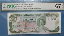 1987 BELIZE 1 Dollar PMG67 EPQ SUPERB GEM UNC <P-46c>