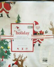 Pottery Barn Kids Merry Santa Full Sheet Set Christmas Organic COTTON Percale