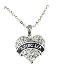 Abuelita Clear Crystal Heart Pendant Silver Chain Necklace Abuela Grandmother