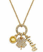 $60 Eliot Danori by Nadri 18k Gold Plated Luck Pave Clover Yellow Charm Necklace