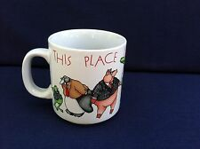 Vintage Russ Berrie Coffee Mug Made in Korea This Place is a Zoo Collectible Cup