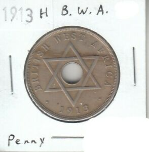 British West Africa Penny 1913 H XF Extra Fine