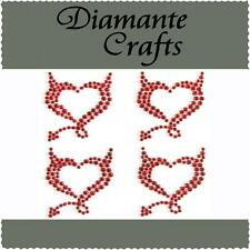 4 x 32mm Red Diamante Devil Hearts Rhinestone Vajazzle  Body Art Gems (tr)