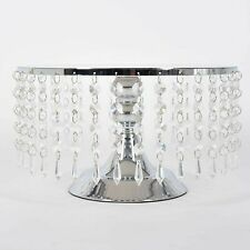 Cake Stand Wedding Party Cupcake Holder Display Plate Metal Tower w/ Crystal