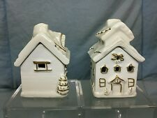 Vtg Lot of 2 Incense Burners Winter Christmas Time Snow Covered Houses Cabins