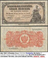 BONITO RARO Billete de 5 pesetas Portabella 18 Julio 1937. SIN SERIE 9,066,680.