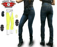 Bikers Gear Aust Stone wash Ladies Motorcycle Jeans with DuPont™ Kevlar® Blue