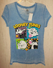 NWT WOMENS / JUNIORS LOONEY TUNES BLUE NOVELTY T-shirt   SIZE L