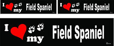 3 I love my Field Spaniel dog bumper vinyl stickers decals 1 large 2 small