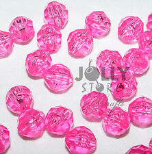 8mm Shocking Pink Faceted Acrylic Beads 500 piece bag